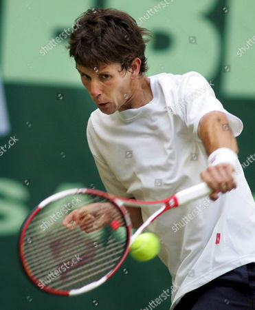 German Tennis Pro Simon Stadler Hits a Backhand in His Round of 16 Match Against Russian Mikhail Youzhny at the 15th Gerry Weber Open in Halle/westfalia Germany 13 June 2007 Germany Halle