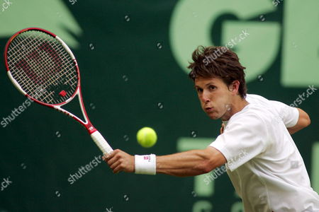 German Tennis Pro Simon Stadler Achieves a Backhand in His Round of 16 Match Against Russian Mikhail Youzhny at the 15th Gerry Weber Open in Halle/westfalia Germany 13 June 2007 Germany Halle