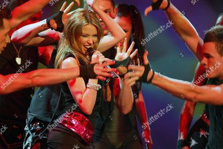 Australian Singer Kylie Minogue Performs on Stage of the Velodrom in Berlin on Friday 5 March 2004 During the Pop Show 'The Dome' 20 National and International Artists Like Nelly Furtado Him and Patrick Nuo Participated in the Show Germany Berlin