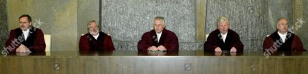 The Third Criminal Division of the German Supreme Court (l-r:) Joerg-peter Becker Klaus Miebach Klaus Tolksdorf (chairman) Walter Winkler and Erwin Hubert in the Courtroom of the Federal Supreme Court in Karlsruhe Germany on Thursday 4 March 2004 the Court on Thursday 4 March 2004 Ordered a New Trial of Moroccan Mounir El Motassadeq who was Convicted As an Accomplice in the 11 September 2001 Plane Attacks the Court Upheld an Appeal by Lawyers For Convicted Terror Suspect Motassadeq and Suspended the 15-year Jail Term Ordered Against Him at the Hamburg State Court in February 2003 the Supreme Court Ordered a New Trial in the Same Venue the Court Ruling Comes After Last Month's Controversial Acquittal Ruling in Hamburg on a Second Moroccan Abdel-ghani Mzoudi on Identical Charges As Those Against Motassadeq Germany Karlsruhe