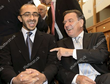 Former Geman Chancellor Gerhard Schroder (r) and Abdullah Bin Zayed Al Nahyan United Arab Emirates Foreign Minister Chat in Berlin Germany Monday 29 May 2006 Afterwards Schroeder was Nominated Honorary Chairman of the German Near and Middle East Association Numov Germany Berlin