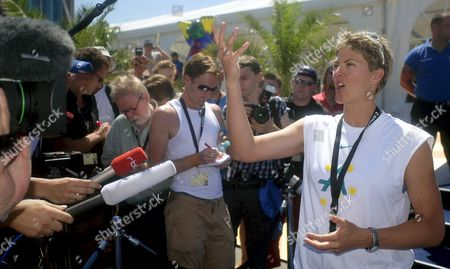 Natalie Cook Australian Beach Volleyball Player and Former Olympic Winner Talks to Journalists After a Warning Strike of the Players During the World Championship in Beach Volleyball in Berlin Thursday 23 June 2005 the Activists Demanded Similar Contracts For All Players and a Larger Say in Matters of Concern As Well As the Formation of a Union Germany Berlin