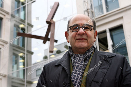 Editorial image of Joel Shapiro unveiling his first permanent public display suspended above the entrance to 23 Savile Row, London, Britain - 17 Nov 2008
