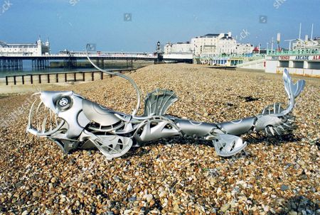 'Viper Fish' creation on Brighton beach.