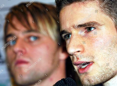 German National Soccer Team Players Arne Friedrich (r) and Timo Hildebrand Pictured During a Press Conference in Bangkok Thailand Monday 20 December 2004 Germany Will Meet the Thailand Team on Their Last Stop of Their Asia Trip on Tuesday 21 December 2004 in the Game Hildebrand Will Be Goalkeeper and Arne Friedrich Team Captain Epa/peter Kneffel Thailand Bangkok
