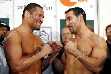 Defending Wba Cruiserweight Champion Us Virgil Hill (l) and German Interim Wba Champion Firat Arslan (r) Posing During the Official Weighing in Dresden Germany 23 November 2007 Hill who Lost an Unofficial Re-bout to German Henry Maske on Points Will Make a Mandatory Defense of His 'Regular' Wba Title on 24 November Taking on Firat Arslan Germany Dresden