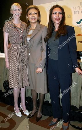 (l-r) German Former Top Model Nadja Auermann Former Empress of Iran Farah Diba Pahlavi and President of 'Innocence in Danger' Organisation Homayra Sellier During the Press Conference on the Organisation's Charity Gala in Berlin Germany 25 April 2008 Pahlavi Visited the German Capital For the Charity Gala of 'Innocence in Danger' a Charity Organisation Fighting Against the Abuse of Children and Adolescents Taking Place on 26 April Germany Berlin