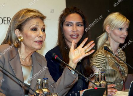 (l-r) Former Empress of Iran Farah Diba Pahlavi President of 'Innocence in Danger' Organisation Homayra Sellier and German Former Top Model Nadja Auermann During the Press Conference on the Organisation's Charity Gala in Berlin Germany 25 April 2008 Pahlavi Visited the German Capital For the Charity Gala of 'Innocence in Danger' a Charity Organisation Fighting Against the Abuse of Children and Adolescents Taking Place on 26 April Germany Berlin
