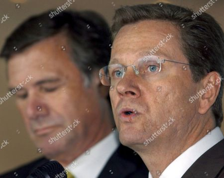 Fdp Chairman Guido Westerwelle (r) and Fdp Head of Fraction Wolfgang Gerhardt Talk to Press Representatives About the Results of the Exploratory Talks in Berlin Germany Thursday 29 September 2005 Fdp and Cdu Met Prior For Talks in Berlin Germany Berlin