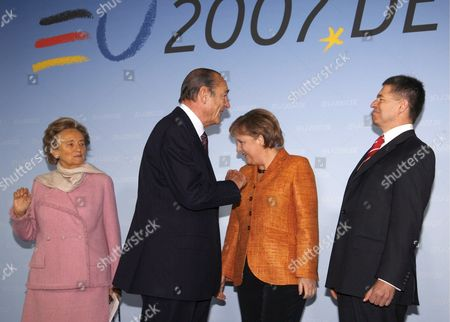 Stock Picture of German Chancellor Angela Merkel (2nd R) and Her Husband Joachim Sauer (r) Welcome French President Jacques Chirac (2nd L) and His Wife Bernadette Chodron De Courcel (l) During Celebrations to Mark the 50th Anniversary of the Treaty of Rome in Berlin on Sunday 25 March 2007 a Berlin Declaration Marking 50 Years of the European Union was Signed in the German Capital Sunday the Document Setting out the Eus Achievements and Aspirations was Signed by the Leaders of the Three Main Institutions of the Bloc That Has Grown From Six to 27 Members Since the Treaty of Rome Were Signed on This Day in March 1957 Germany Berlin