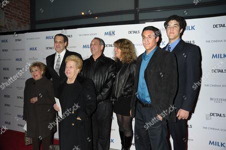 Stuart Milk (L) and the family of Harvey Milk