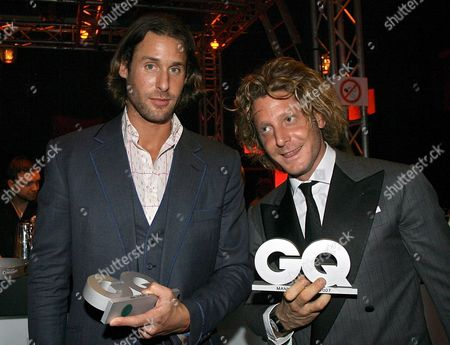 David De Rothschild (l) Environmental Activist and Nature Documentary-producer and Lapo Elkann Grandson of Italian Fiat-founder Giovanni Agnelli Pose During the Gq Gala Event For the Presentation of the 'Men of the Year 2007' Prizes in Munich Germany 25 October 2007 For the Ninth Time the Magazine Honoured Outstanding Personalities From Cinema Television Music Business Fashion and Sports Germany Munich