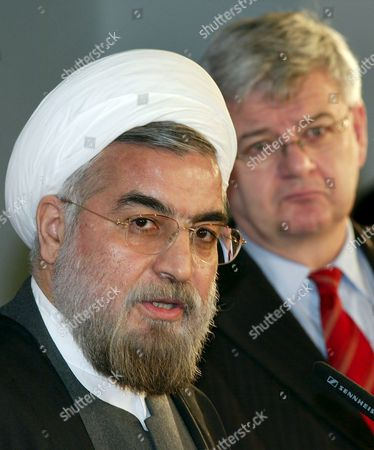 Iranian Chief Nuclear Negotiator Hassan Rohani (l) and German Foreign Minister Joschka Fischer Answer Journalists' Questions During a Press Conference at the Foreign Ministry in Berlin Germany Friday 25 February 2005 Both Politicians Met Prior to That For a Talk Germany Berlin
