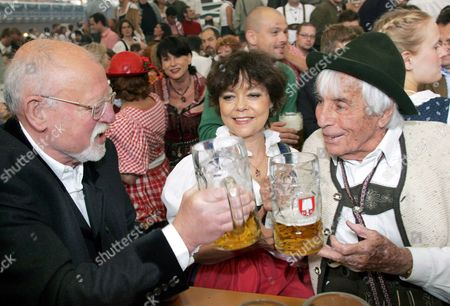 Germany's Legendary 101-year Old Entertainer Johannes Heesters (r) His Wife Simone Rethel and Hit Singer Roger Whittaker Clink Glasses As They Take Part in the Opening of the 172nd October Beer Festival in Munich on Saturday 17 September 2005 the So-called 'Wies'n' is the Most Important Beer Festival in the World Which is Going to Run For the Next 17 Days with an Expected Six Million Visitors Germany Munich