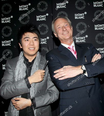 Chinese Pianist Lang Lang (l) is Appointed President of the Montblanc Cultural Foundation by 'Montblanc International' Ceo Lutz Bethge (r) at a Ceremonial Act in Munich Germany 22 February 2008 the Montblanc Cultural Foundation Benefits and Honours Representatives of Contemporary Art in Europe America and Asia Germany Munich