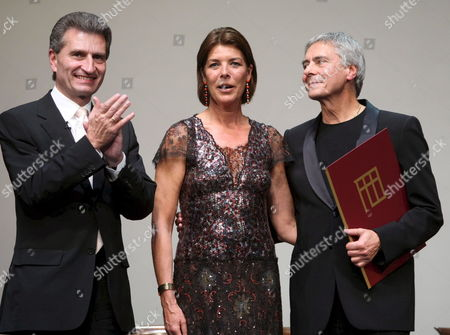 Caroline Princess of Hanover who Held the Laudation (m) and G?nther Oettinger Prime Minister of Baden-wuettemberg (l) Congratulate the Choreographer Hamburg Ballet John Neumaier (r) For Winning the Karajan Music Award 2007 in the 'Festspielhaus' in Baden-baden Germany 06 October 2007 Germany Baden-baden