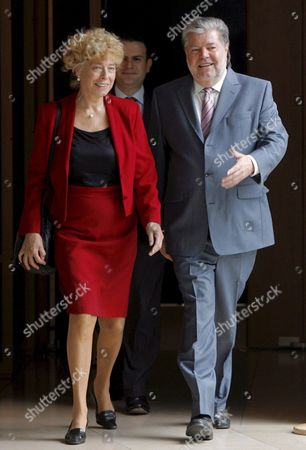 Kurt Beck (r) Chairman of the Social Democrats (spd) and Gesine Schwan (l) the Party's Designated Runner For Federal President Walk Smiling After a Meeting of the Spd Extended Party Board Meeting in Berlin Germany 26 May 2008 at the Will of Mr Beck Mrs Schwan Shall Be Appointed to Be the Spd Runner For the German President's Office Candidating Against Incumbent Horst Koehler when the Federal Assembly Elects the German President on 23 May 2009 Germany Berlin