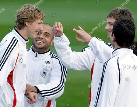 German Internationals (l-r) Stefan Kiessling David Odonkor Arne Friedrich and Mario Gomez Pictured During the Training in Berlin Germany 11 October 2007 Germany Faces Republic of Ireland For a Uefa Euro 2008 Qualifier in Dublin Ireland on 13 October Germany Berlin