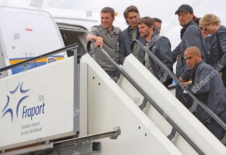Germany's National Soccer Team Players (l-r) Lukas Podolski Patrick Helmes Arne Friedrich Kevin Kuranyi David Odonkor and Marcell Jansen Enter a Plane at the Airport in Frankfurt Main Germany 19 May 2008 a 50-strong German Football Association (dfb) Delegation Departed For Its Euro2008 Preparation Camp in Palma De Mallorca Today Germany Frankfurt/main