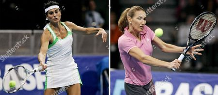 A Combination Picture of Former World Class Tennis Pro German Steffi Graf (r) Playing an Exhibition Match Vs Argentinian Gabriela Sabatini (l) in the Sap-arena in Mannheim Germany Saturday 15 October 2005 the Former Leaderof the World Ranking List and Her Longtime Contrahent From Argentina Played 40 Times Against Each Other on the Wta Protour 29 Times the German Won Living Today with Her Family in the Us Graf and Sabatini Won the Wimbledom Doubles Together in 1988 Germany Mannheim