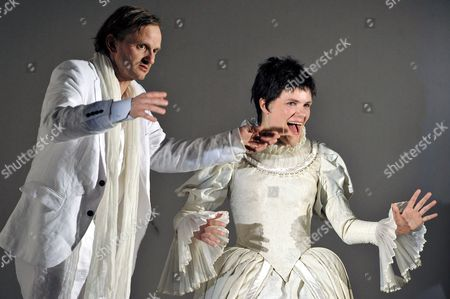 German Actor Milan Peschel (as Wronski) and German Actress Fritzi Haberlandt (anna Karenina) During a Rehearsal of the Play 'Anna Karenina' at the Stage of 'Maxim-gorki-theatre' in Berlin Germany 30 April 2008 Premiere of the Play Based on the Novel Written by Leo Tolstoi is 16 May 2008 in Marl Germany During the Ruhrfestspiele Recklinghausen and in Berlin 27 May Germany Berlin