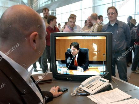 A Television Screen at the German Bundestag Shows a Live Coverage of Ludger Volmer Former Minister of State at the German Foreign Office Testifying to the Visa Inquiry Commision in Berlin Thursday 21 April 2005 Volmer is Considered One of the Key Players in the Scandal Concerning the Misuse of Travel Visas to Germany Germany Berlin