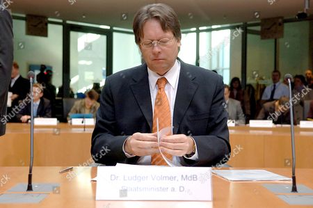 Ludger Volmer Former Minister of State at the German Foreign Office Looks Through His Notes As He Waits to Testify to the Visa Inquiry Commision in Berlin Thursday 21 April 2005 Volmer is Considered One of the Key Players in the Scandal Concerning the Misuse of Travel Visas to Germany Germany Berlin