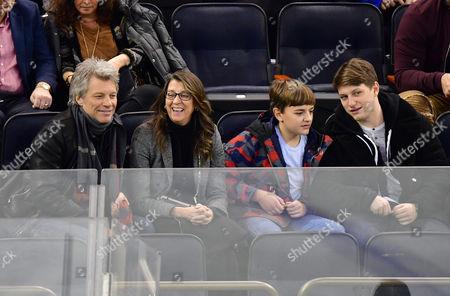 Stock Photo of Jon Bon Jovi, Dorothea Hurley, Romeo Bon Jovi and Jesse Bon Jovi
