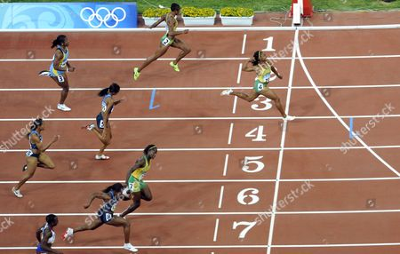 Shelly-ann Fraser (lane 4) of Jamaica Wins Women's 100m Final in the National Stadium at Beijing 2008 Olympic Games Beijing China 17 August 2008 Sherone Simpson (lane 2) and Kerron Stewart (lane 7) of Jamaica Won Silver China Beijing