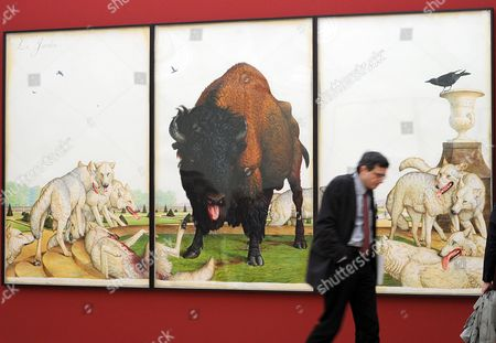 A Visitor to the Exhibition 'Walton Ford - Bestiarium' Walks Past the Work 'Le Jardin' by Us Artist Walton Ford During the Vernissage at Museum For Contemporary Art of Berlin Germany 22 January 2010 the Exhibition Provides a Broad View on Walton Ford's Large-scale Animal Watercolour Paintings Germany Berlin