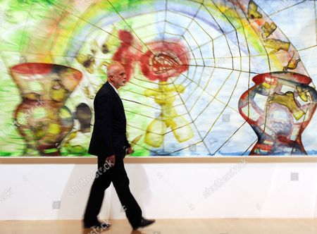 Italian Painter Francesco Clemente Stands in Front of His Watercolour Painting a History of the Heart in Three Rainbows (i) (2009) at a Preview of the Exhibition 'Francesco Clemente Palimpsest' at the Schirn Art Hall in Frankfurt Am Main Germany 07 June 2011 the Schirn Presents Around 40 Pieces From the Years 1978 to 2011 at the Exhibition That Runs From 08 June Until 04 September 2011 Germany Frankfurt Am Main