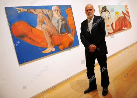 Italian Painter Francesco Clemente Poses Next to His Paintings Self-portrait in an Imperial Era' (l 2005) and Ala (r 1997) at a Preview of the Exhibition 'Francesco Clemente Palimpsest' at the Schirn Art Hall in Frankfurt Am Main Germany 07 June 2011 the Schirn Presents Around 40 Pieces From the Years 1978 to 2011 at the Exhibition That Runs From 08 June Until 04 September 2011 Germany Frankfurt Am Main