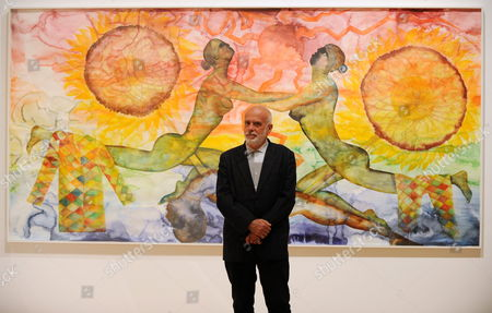 Italian Painter Francesco Clemente Stands in Front of His Watercolour Painting a History of the Heart in Three Rainbows (iii) (2009) at a Preview of the Exhibition 'Francesco Clemente Palimpsest' at the Schirn Art Hall in Frankfurt Am Main Germany 07 June 2011 the Schirn Presents Around 40 Pieces From the Years 1978 to 2011 at the Exhibition That Runs From 08 June Until 04 September 2011 Germany Frankfurt Am Main