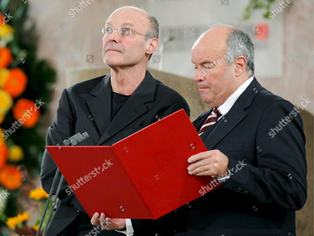 German Painter and Sculptor Anselm Kiefer (l) Receives the Peace Prize of the German Book Trade From the Hands of Gottfried Honnefelder (r) Chairman of the German Book Trade Association in Frankfurt Main Germany 19 October 2008 Kiefer is the First Visual Artist to Receive the Prize Endowed with 25 000 Euro Germany Frankfurt Main