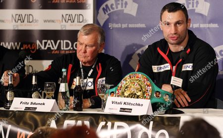 Ukrainian Heavyweight Boxing Title Holder Vitali Klitschko (r) and His Coach Fritz Sdunek (l) During a Press Conference After the Wbc World Heavyweight Championship Fight Against Cuban Odlanier Solis in Cologne Germany 19 March 2011 Klitschko Won by Technical K O After the First Round Germany Cologne