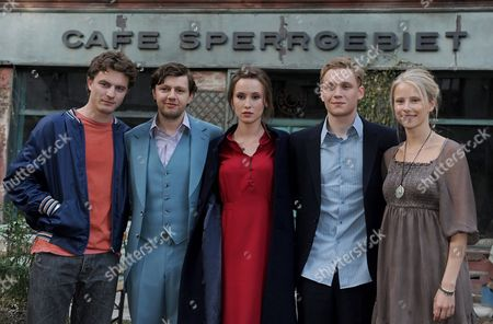 Stock Image of German Actors (from Left) Friedrich Muecke (in the Role of Mischa) Christian Friedel (andrej) Peri Baumeister (olga) Matthias Schweighoefer (wladimir) and Susanne Bormann (hanna) Pose For Photographs During the Shooting of the Film 'Russendisko' at Babelsberg Film Studios Potsdam Germany 11 May 2011 the Comedy is the Story of Wladimir and His Two Friends Mischa and Andrej who Came From Moscow to Berlin After the Fall of the Berlin Wall Germany Potsdam