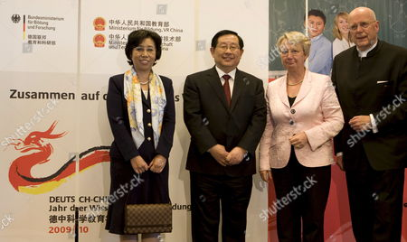 German Science and Education Minister Annette Schavan (2-r) Her Chinese Counterpart Wan Gang (2-l) China's Vice Science Minister Chen Xiaoya (l) and the President of Berlin's Free University Dieter Lenzen (r) Arrive For a Ceremony Kicking-off the 'German-chinese Year of Science and Education' at Seminaris Conference Hotel in Berlin Germany 30 March 2009 the Year Aims at Improving Cooperation Between Both Countries in the Fields of Science and Educational Politics Germany Berlin