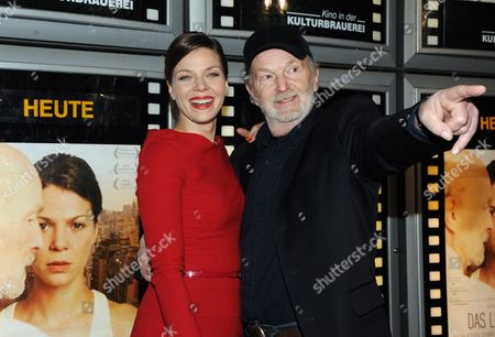 Geman Actor Michael Gwisdek (r) and German Actress Jessica Schwarz (l) Arrive at the 'Kulturbrauerei' Cinema For the Premiere of the Film 'Das Lied in Mir'(the Day i was Nor Born) the Movie Will Be Screened in German Cinemas As of 10 February 2011 Germany Berlin