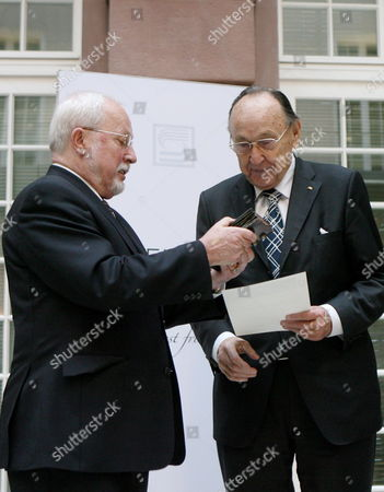 The Last Prime Minister of the German Democratic Republic (gdr) Lothar De Maiziere (l) Presents Former German Foreign Minister Hans-dietrich Genscher with the 'Preis Der Deutschen Gesellschaft E V ' (prize of the German Society) For His Earnings of the German and European Understanding the 'Deutsche Gesellschaft E V ' (german Society Registered Association) was Founded in 1990 As the First Non-party Society and Since 2005 Annually Hands out a Prize For German and European Understanding to Outstanding Personalities of Public Life Germany Berlin