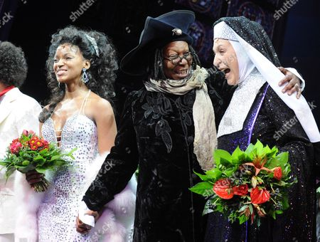 Actress Zodwa Selele (l) and Us Actress Whoopi Goldberg (c) and German Actress Daniela Ziegler After the Premiere of the Musical 'Sister Act' in Hamburg German 02 December 2010 the Musical is Based on the 1992 Movie Germany Hamburg