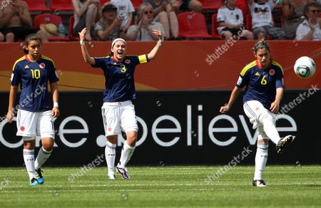 (from Left) Yoreli Rincon Natalia Gaitan and Daniela Montoya of Colombia React After Their Team Went 0-1 Down During the Group C Match Colombia Against Sweden of Fifa Women's World Cup Soccer Tournament at the Fifa Women's World Cup Stadium in Leverkusen Germany 28 June 2011 Germany Leverkusen