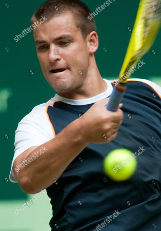 Russian Mikhail Youzhny Plays a Forehand During His First Round Match Against German Nicolas Kiefer at the Gerry Weber Open in Halle Germany 08 June 2010 Kiefer Defeated Zouzhny 4-6 6-1 and 7-5 Germany Halle