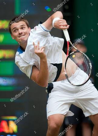 Germany's Andreas Beck Serves the Ball to Compatriot Nicolas Kiefer During Their Gerry Weber Open Round of 16 Match Against in Halle Germany 09 June 2010 Beck Defeated Kiefer with 6-2 3-6 7-6 Germany Halle Westalia