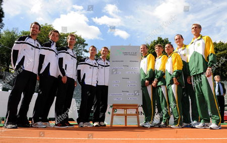 The German Tennis Davis Cup Team (l-r) Christopher Kas Andreas Beck Florian Mayer Philipp Kohlschreiber and Der Captain Patrick Kuehnen Stand Next to South Africa's Team (l-r Right Side) with Captain John-laffnie De Jager Rik De Voest Jeff Coetzee Wesley Moodie and Izak Van Der Merwe During the Draw of the Davis Cup World Group Play-offs at Tcáweissenhof in Stuttgart Germany 16 September 2010 They Will Compete in the First Match on 17 September 2010 Germany Faces South Africa From 17 Until 21 September 2010 Germany Stuttgart