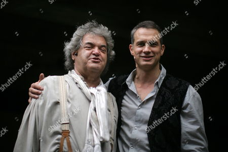 German Journalist and Since 1993 Editor-in-chief of the Weekly Newsmagazine Focus Helmut Markwort and Actor Ralf Bauer Pose Before a Performance of 'Der Hessische Jedermann' in Frankfurt Main Germany 17 July 2010 Germany Frankfurt Main