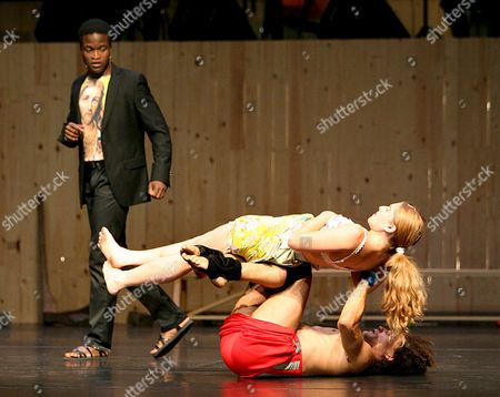 (l-r) Serge Kakudji and Dancers Lisi Estaras and Emile Josse Perform on Stage During a Rehearsal of 'Pitie! Erbarme Dich!' at the Jahrhunderhalle in Bochum Germany 01 September 2008 the Production Adapted From Johann Sebastian Bach's 'Matthew's Passion' and Directed by Alain Platel Will Premiere at the Ruhrtriennale on 02 September 2008 This Year's Ruhrtriennale Runs From 22 August to 05 October 2008 Germany Bochum