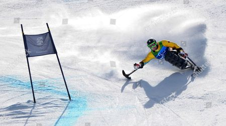 Stock Photo of Germany's Martin Braxenthaler on His Way to Win the Gold Medal in the Men's Super Combined Sitting Competition at the Vancouver 2010 Paralympic Games in Whistler Canada 21 March 2010 Canada Whistler