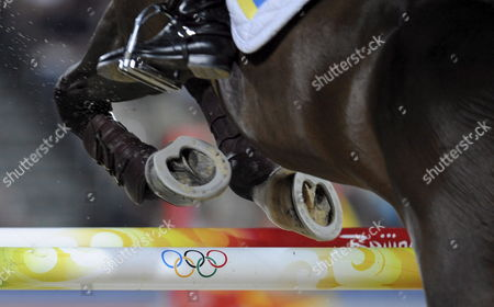 Ukrain Show Jumper Aleksandr Onishenko and His Horse Codar Compete in the 2nd Qualifier of the Jumping Team Event at the Equestrian Venue of the Beijing Olympic Games 2008 in Hong Kong China 17 August 2008 China Hong Kong