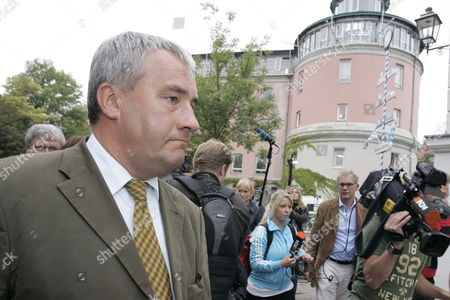 Bavarian Culture Minister Ludwig Spaenle (l) Leaves the Grounds of the Carolinum School in Ansbach Germany 17 September 2009 a 18-year-old Pupil Assaulted the School and Injured Four Schoolmates Some of Them Severely the Offender Severely Injured Himself was Arrested the Motive As Well As the Sequence Remain Yet Unclear Germany Ansbach