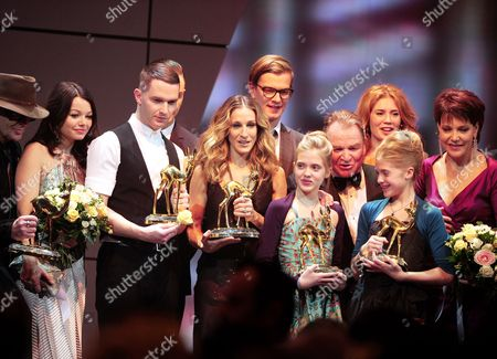 From (l-r) German Singer Udo Lindenberg German Actress Cosma Shiva Hagen British Singer Adam Anderson of the Band Hurts Us Actress Sarah Jessica Parker German Actress Jana Muenster German Actor Fritz Wepper German Actress Sophia Muenster and German Actress Janina Hartwig Celebrate After Been Awarded with the Bambi Trophies During the 62nd Annual Bambi Awards at Filmpark Babelsberg in Potsdam Germany 11 November 2010 Presented Annually by Hubert Burda Media Group the Bambi Awards Are the Oldest Media Awards in Germany Germany Potsdam